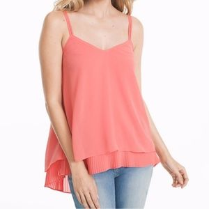 White House Black market coral pleated top